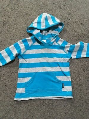 Baby Boys Long Sleeved Blue Hooded Bonds Top Size 0 EUC