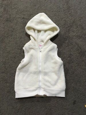 Baby Girls White Short Sleeved Zip Up Hooded Jacket Size 1 EUC