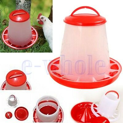 1.5kg Auto Red Plastic Food Feeder Chicken Chick Hen Poultry with Lid&Handle GW