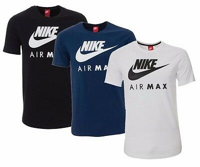 New Men's Nike Air Max Logo Sports T-Shirt Top - Blue White Black