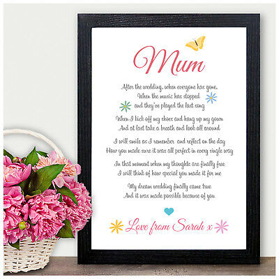 Mother of the Bride Wedding Gift - Personalised Mother of the Bride Poem Gift