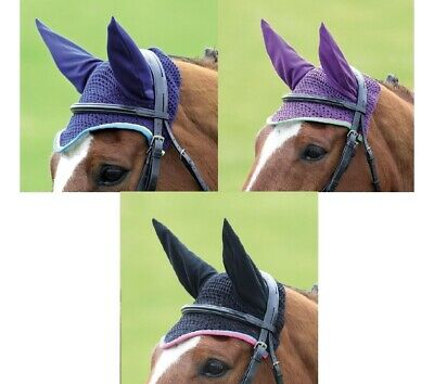 Bridleway Crochet Fly Bonnet Fly Veil Comfort Stretch Ears One Size Cob To Full