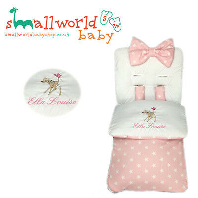 Personalised Girls Pink Star Bambi Footmuff Cosytoes (NEXT DAY DISPATCH)