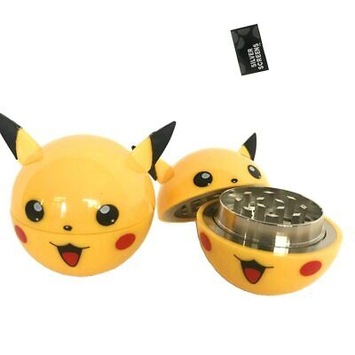 3 Layers Pikachu Plastic Herb Hand Hold Grinders Tobacco