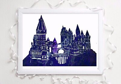 hogwarts castle print harry glossy potter  poster a4 watercolur picture unframed