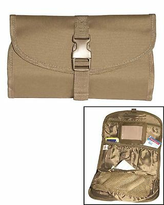 British Army Foldable Lightweight Wash Bag with Hanging Hook & Mirror Coyote ...