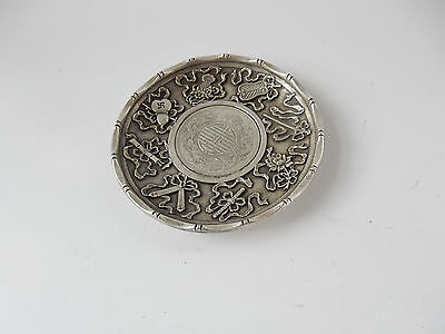 Oriental Silver-Plated Chinese Dragon Coin Dish Stamped