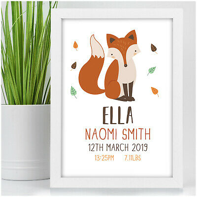 Personalised Baby Boy Girl Newborn Fox Wildlife Animals Gift Present For Baby