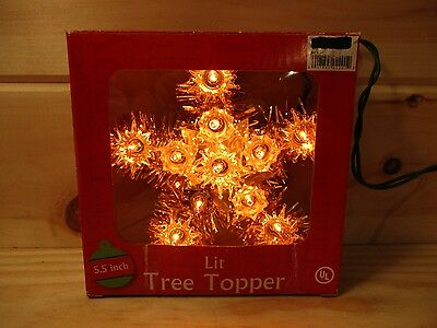 """Gold 5.5"""" Christmas Tree Topper With 11 Gold Bulbs & Extra Bulbs"""
