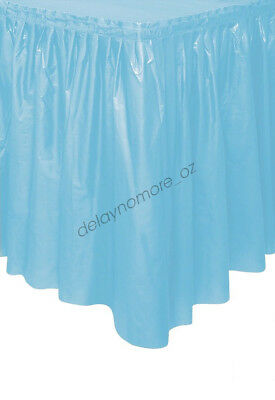 Powder Blue Plastic Table Skirt Tableskirt Baby Shower Party Decoration 4.26m