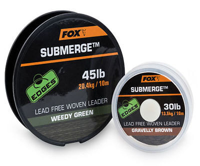 New Fox Edges Submerge Lead Free Wooven Camo Unleaded Leader 10m 30lb & 45lb