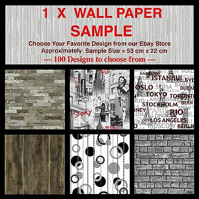 1 x Wall Paper Sample - High Quality Textured Feature Embossed Wallpaper Samples