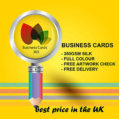 100 x BUSINESS CARDS PRINTED FULL COLOUR SINGLE SIDED ON 350GSM SILK