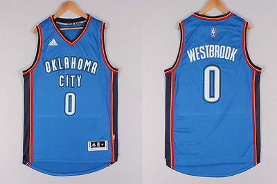 Oklahoma City Thunder Russell Westbrook Blue 0 Throwback Swingman Men Jersey