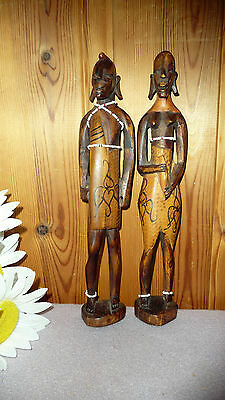 Wooden African Woman & Man Figurine Carved Wood Statue Sculpture Vintage