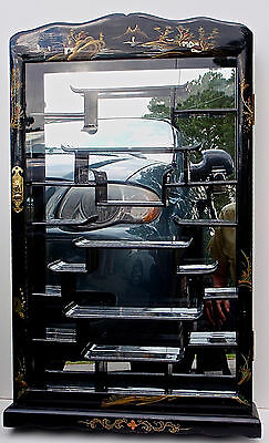Mirrored Glass Wall/Table Chinese Scenic Black Lacquer Curio Display Cabinet