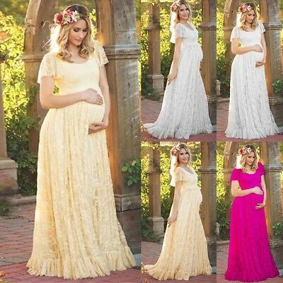 Pregnant Women Lace Maternity Short Sleeve Long Maxi Dress Gown Photography Prop