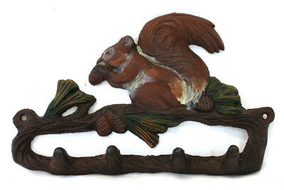 Cast Iron Sculpted Squirrel w/ Nuts Wall Mount Four Hook Organizer Rustic Decor