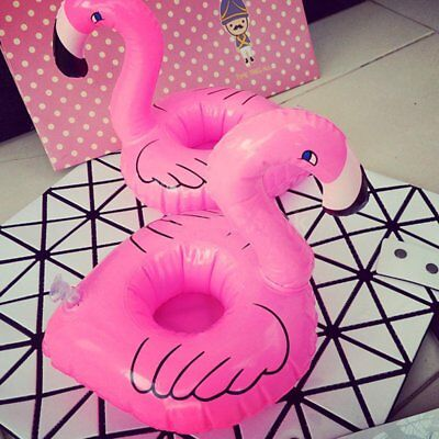 Flamingo Floating Inflatable Drink Coke Can Cup Holder Pool For Kid Bath Toy UK