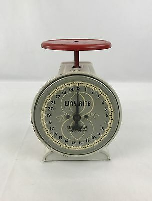 Vintage Way Rite 25 lb Kitchen Household Scale Red & White