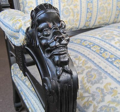 AESTHETIC MOVEMENT CARVED WOOD EBONIZED SETTEE SOFA CHINESE WARRIOR HEADS 1870s