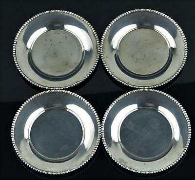 "Four Roger Williams Sterling Silver Demi Plates / Saucers-3"" Diameter-63 Grams"