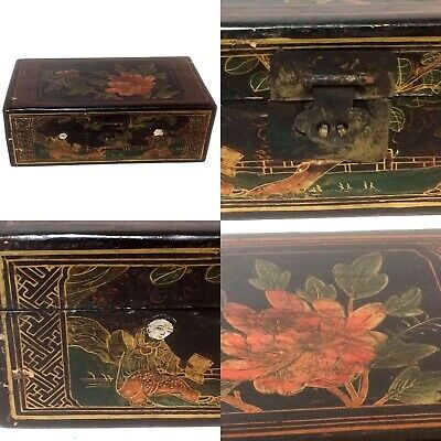 Large Antique Chinese Lacquered Valuables Box