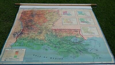 Vintage Pull Down School Wall Map A J NYSTROM & CO...LOUISIANA SCHOOL MAP!!