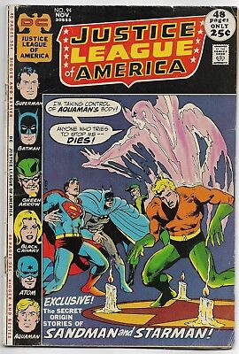 Justice League of America #94 DC 1971 Bronze Age Comic VG/VG+ (1st Merlyn App.)