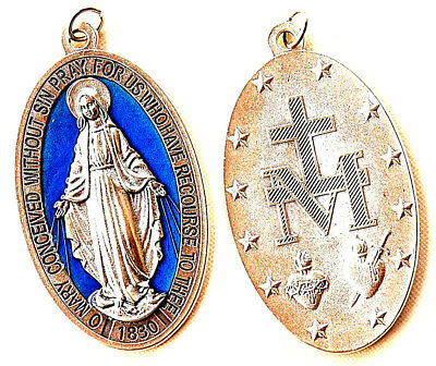 """Miraculous (Lady of Grace) Large 3"""" Oval Blue Enameled Medal - Italy"""
