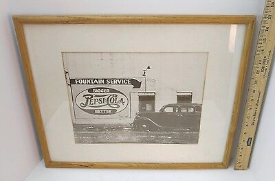 Pepsi Cola 21 X 17 Frame,  Photo Of Fountain Service Sign On Building, '30S Car