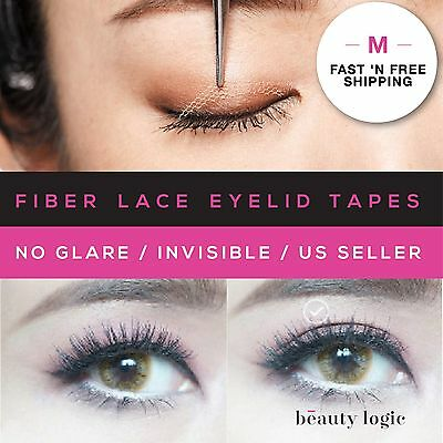 Original Invisible Fiber Lace Double Eyelid Tapes(M) 125Pieces+TOOLS *US SELLER*