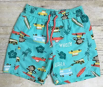 EUC Carter's Swim Shorts Trunks Boy Size 4T Monkey Hawaiian Surf Van Car