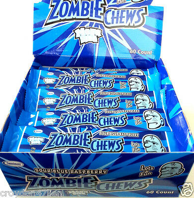 Zombie Chews Sour Blue Raspberry Flavour 60 x 28g - Bulk Lollies