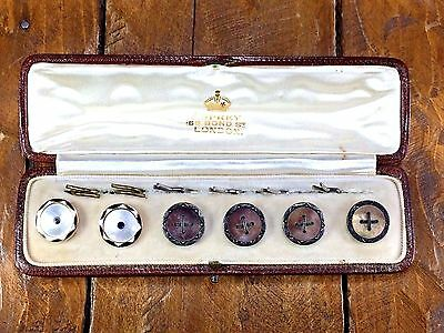 Antique 6 Set 1920s Asprey 14kt Gold & Sterling Buttons Mother Of Pearl w/Box