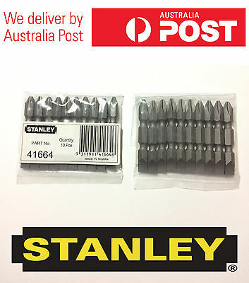 NEW PACK OF 10 Pcs STANLEY PH2 SCREW DRIVER BITS SET MODEL 41664
