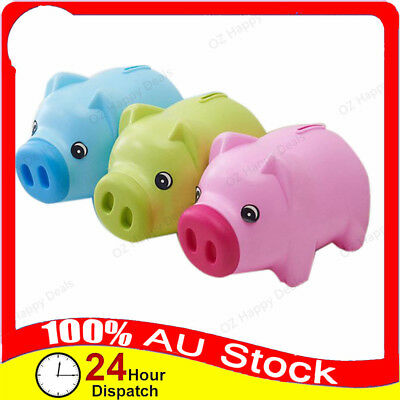 Plastic Cute Piggy Bank Pig Cash Tin Coin Money Saving Openable Box Toy Kids Gif