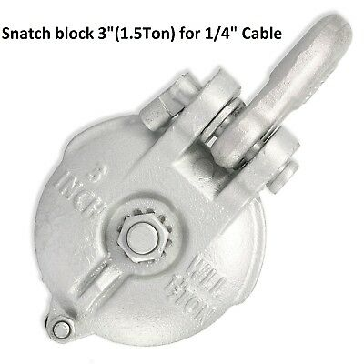 """Snatch Block,Yarding Block Wire rope cable pulley for 1.5 Tons-3"""" For 1/4"""" Cable"""