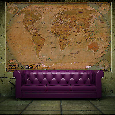 Large World Wall Map Vintage Home Decor Art Painting Classic Mural Dining Room