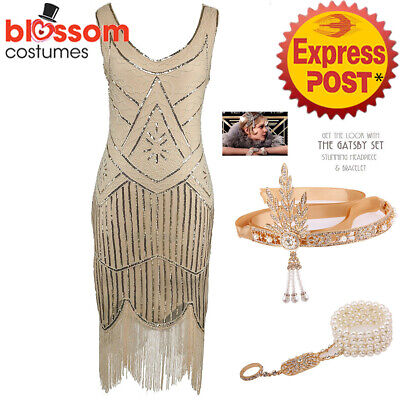 K298 Beige Ladies 1920s Roaring 20s Flapper Costume Sequin Gatsby Outfit Dress