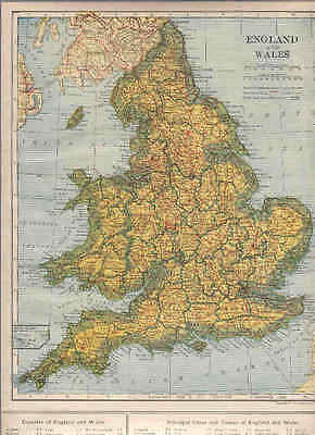1921  Collier Railroad MAP SCOTLAND / ENGLAND WALES  DATED