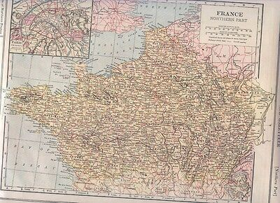 1921 Collier Railroad MAP ASIA East / FRANCE Northern Inset PARIS   DATED