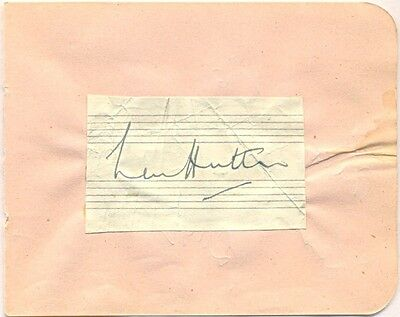 Len Hutton + Billy Reid signed autograph album page 1950s cricketer / songwriter