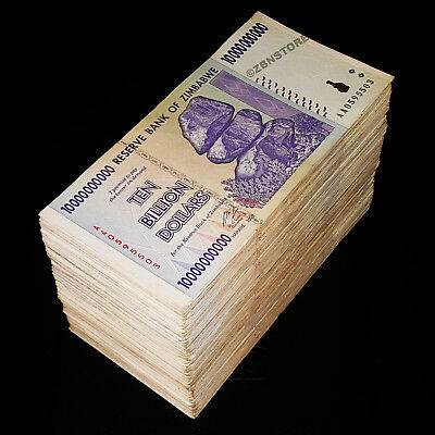 500 x 10 Billion Dollars Zimbabwe Banknotes AA AB 2008 ½ Brick 5 x Bundle 500PCS