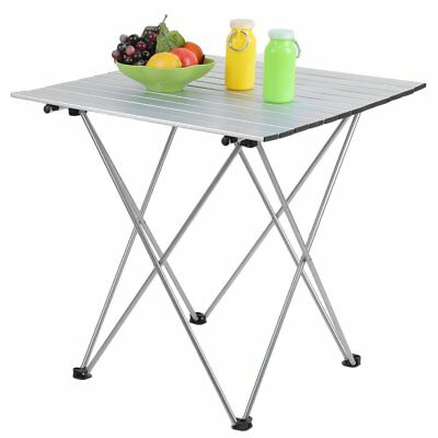 Folding Aluminum Roll Up Table Camping Outdoor Indoor Picnic w/ Bag Heavy Duty H