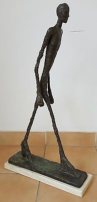 "Bronze Sculpture ""Walking man"" Giacometti Marble Base Figurine Figure"