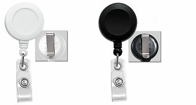 100 50 Wholesale Name Tag Retractable Reel ID badge with Belt Clip Black White