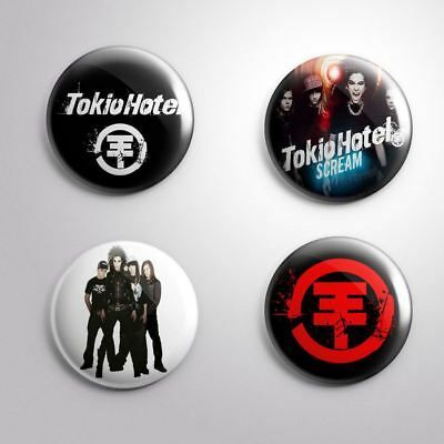 4 TOKIO HOTEL -  Pinbacks Badge Button 25mm 1''
