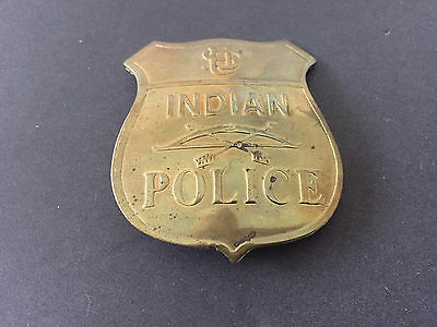 Embossed Replica Cowboys & US Indian Police Badge, Solid Brass Pin
