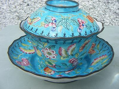 Antique Chinese Enamel Cloisonne Canton Cup And Saucer With Lid